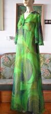 Women's Vintage green Maxi Dress  sleeves size 14 - 16 ladies clothing long
