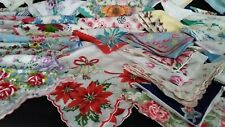 Vintage Hankies Lot/Printed Embroidered/Flowered/Lace Crocheted Handkerchiefs 67