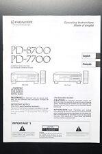 PIONEER PD-8700/PD-7700 Bedienungsanleitung/User-/Owner`s Manual!