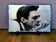 "Johnny Cash Sketch Art Portrait on Slate 12x8"" Rare Collectables memorabilia"