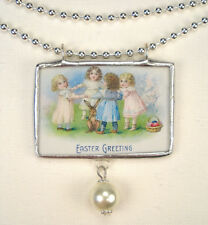 Bunny Rabbit with Girl Necklace Easter Jewelry Reversible Vintage Charm Pendant