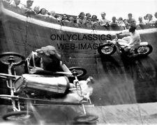1929 WALL OF DEATH AUTO RACING MIDGET SIDECAR LION STUNT MOTORCYCLE 8X10 PHOTO