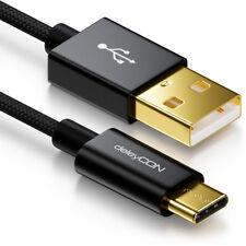 deleyCON 1m USB Kabel mit C Stecker 3.1 Stecker Nylon USB Ladekabel Datenkabel