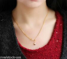 Wheat Chain Heart Charm / 4.32G Adjustable 20inch 18K Yellow Gold Necklace 1.4Mm