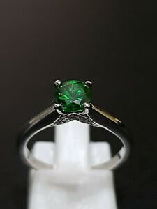 925 STERLING SILVER RHODIUM PLATED EMERALD SAPPHIRE SOLITAIRE RING