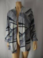 CHICOS TRAVELERS Jacket size 3 XL 16 18 blue gray open swing slinky fabric
