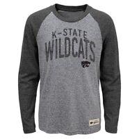 "Kansas State Wildcats NCAA Youth Grey ""Pedigree"" Tri-Blend Long Sleeve T-Shirt"
