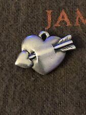 James Avery Retired Love Struck Cupid Heart Arrow Charm Sterling Silver