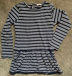 Girls Fat Face Blue & White Striped Tunic Age 8-9