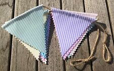 Bunting - Mixed Candy Stripe Shabby Chic DBL Sided Fabric Decor Party Baby 6ft