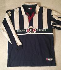 Tommy Hilfiger men's rugby shirt sweater L large retro vintage 90s 2000s varsity