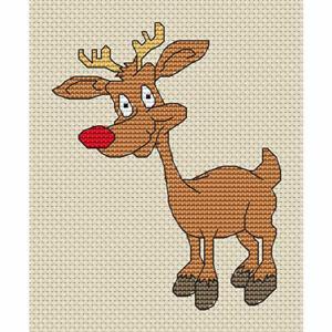 "Reindeer 3 Cross Stitch Design (W93mm x H116mm (W3.7"" x H4.6""), kit or chart)"