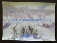 47x33 cm Tableau Paysage Abstrait Ans 60 Vintage Peinture de G.Pancaldi P14