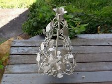 Shabby Cottage White Metal Candle Holder Leaves/Vines intertwined Made in Italy