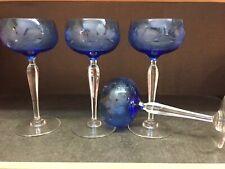 4 Roemer Saumur cristal bleu taillé modèle vigne. H: 180 mm signé Val St Lambert