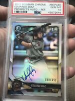 2018 Bowman Chrome Eduardo Diaz RC AUTO REFRACTOR /499 Rookie PSA 10 Gem