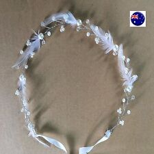 Women Girl BOHO White Feather Silver Hair head band Headband Tiara crown Garland
