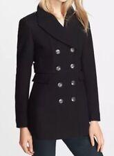 NWT Burberry Brit Womans 'Newmont' Wool Blend Peacoat Coat Jacket Black sz 10