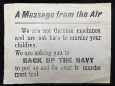 "WWI German Propaganda Leaflet ""A Message From The Air...Not here to Murder"""