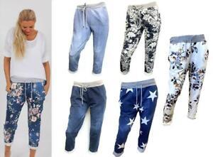 Ladies Womens Italian Floral Plain Elasticated Lounge Pants Trousers joggers