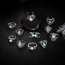 11 Pcs Vintage Mix Design Stone Knuckle Rings Set Boho Flower Rings Jewelry