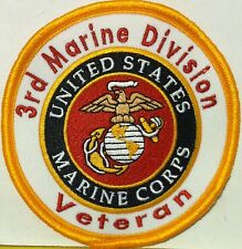 3rd Marine Division Veteran United States Marine Corps Iron-On Patch USMC Patch