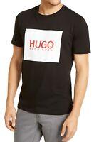 Hugo Boss Mens T-Shirt Black Red Large L Box Logo Graphic Tee Crewneck $68 221