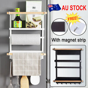 Kitchen Fridge Organiser Rack Refrigerator Magnetic Shelf Towel Holder +Hooks AU