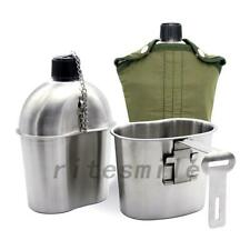 0.8QT Cup 1QT 1.2QT Stainless Steel Military Canteen Water Bottle Travel Picnic