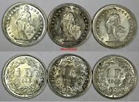 Switzerland Silver LOT OF 3 COINS 1943-1944 1 Franc UNC Condition KM# 24