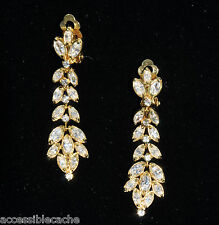 CZ Kenneth Jay Lane Gold Plated Clear Sparkling Tiered Bezel Marquise Earrings
