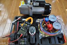 Deep Vacuum Pump+Refrigerant Leak Detector+R410a Manifold Gauge Kit+Clamp Meter
