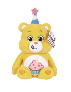 "9"" Care Bears Yellow Birthday Bear Stuffed Bean Plush Party Hat Cupcake 2021 NEW"