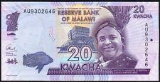 2015 MALAWI 20 KWACHA BANKNOTE * AU 9302646 * UNC * P-NEW *