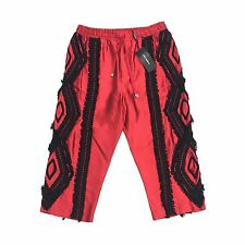 NWT $1k+ Dolce & Gabbana Men's RUNWAY Red Silk Lace Embroidered Shorts AUTHENTIC