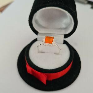 Jalisco fire opal & Zircon halo ring in Sterling Silver