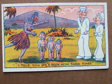 Sailor Has Children from Every Visit. Naughty 1940's postcard from Unique.