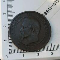 J05211 pièce de monnaie 10 centimes napoléon III 1857 K bordeaux rare
