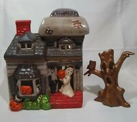 Vintage Haunted House Halloween Decor Le Fauve with Spooky Tree 1970's