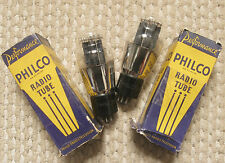 Pair 1940+/- Philco Engraved Bases 6A5G Power Triode tubes - NOS / New In Boxes