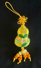 """Chinese """"Good Fortune"""" Yellow Satin Embroidered Ornament w/Traditional Knots"""