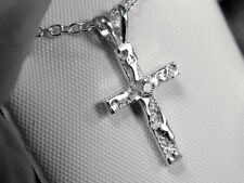 NATURAL white sapphire 925 sterling silver nugget cross pendant chain USA