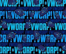 SALE - DR WHO - VWORP VWORP - Tardis -  Blue on Black-  Fabric - 1/4 Yard -FQ