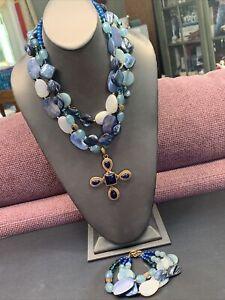 VTG Barse Bronze Lapis Blue Blister Stone Maltese cross Necklace Bracelet Set