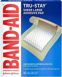 Band-Aid Brand Tru-Stay Adhesive Pads, Large Sterile Bandages for Wound Care, La