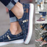 WOMEN LADY FLATS PUMPS DENIM CANVAS CASUAL SHOES LOAFERS CASUAL WORK SIZES 3-6