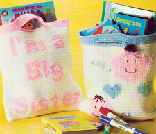 ~ ~ ~ CROCHET * *  PATTERN ONLY * * BIG BRO AND SIS BAGS ~ REALLY CUTE ~ ~ ~