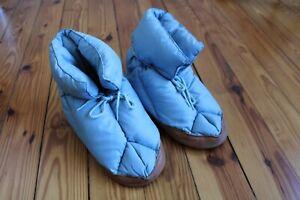 Vtg Eddie Bauer S Blue Goose Down Leather Bootie Slippers