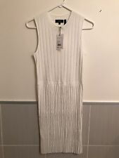 Theory White Knit Pleat Sleeveless Dress Size M