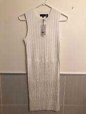 Theory White Knit Pleat Sleeveless Dress Size M